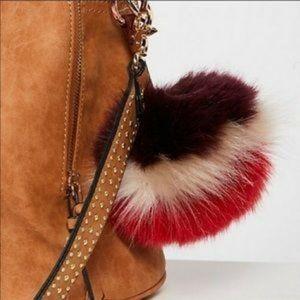 NWT Free People Faux Fur PomPom bag charm